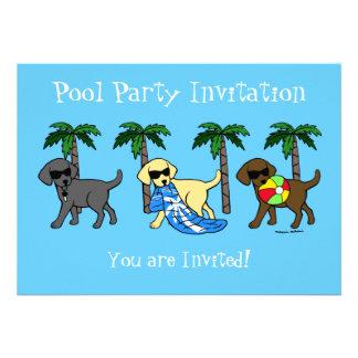 Dibujo animado fresco del fiesta de la playa de La Invitacion Personalizada