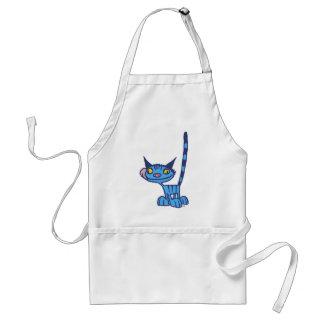 Dibujo animado fresco del gato azul que cocina el delantal
