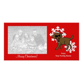 Dibujo animado fresco del navidad de Labrador del  Tarjeta Fotografica Personalizada