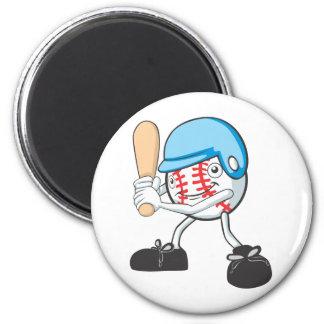 Dibujo animado fresco del talud del béisbol imán redondo 5 cm
