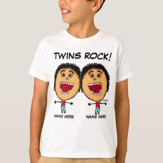 Dibujo animado gemelo de la roca de los muchachos remeras