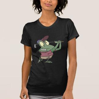 dibujo animado golfing tonto de la rana del camiseta