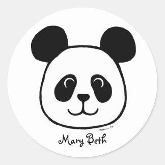 Dibujo animado grande personalizado de la panda de pegatina redonda