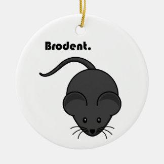 Dibujo animado gris de Bro de la rata o del ratón Adorno Navideño Redondo De Cerámica
