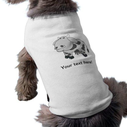 Dibujo animado gris de la vaca camisas de perritos