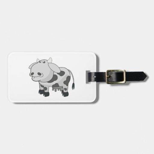 Dibujo animado gris de la vaca etiqueta para equipaje