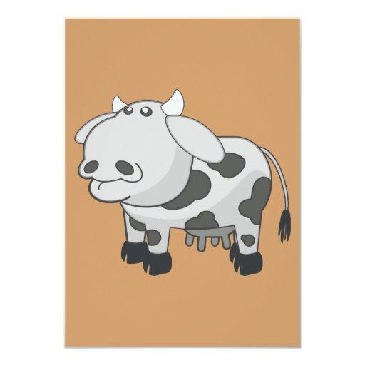 Dibujo animado gris de la vaca invitación 12,7 x 17,8 cm