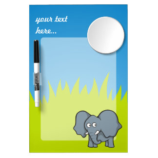 Dibujo animado gris del elefante pizarra blanca