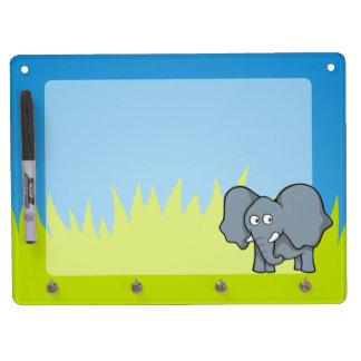 Dibujo animado gris del elefante pizarras blancas