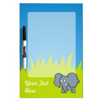 Dibujo animado gris del elefante tablero blanco