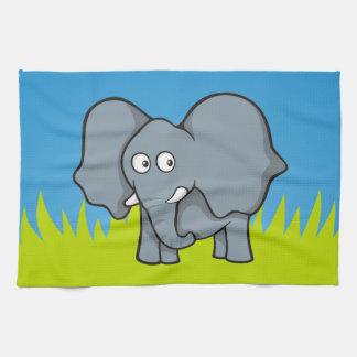 Dibujo animado gris del elefante toallas de cocina