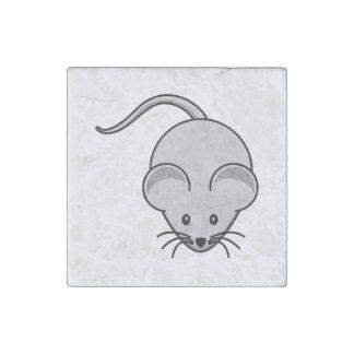 Dibujo animado gris del ratón imán de piedra