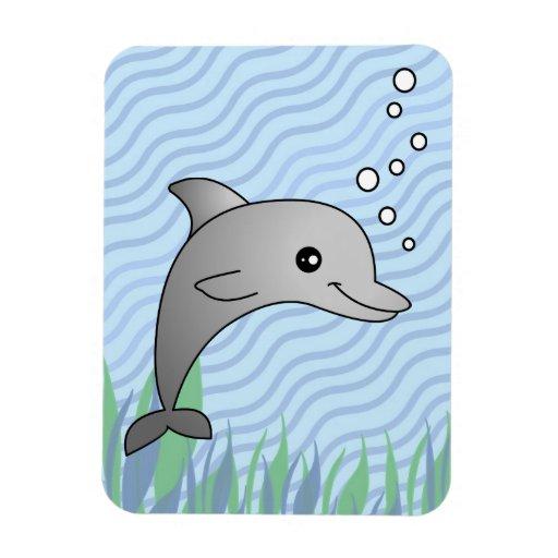 Dibujo animado gris lindo del delfín en agua azul imán de vinilo ...