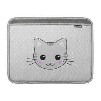 Dibujo animado gris lindo del gato de Tabby de Funda MacBook