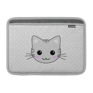 Dibujo animado gris lindo del gato de Tabby de Funda Macbook Air