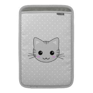 Dibujo animado gris lindo del gato de Tabby de Fundas MacBook
