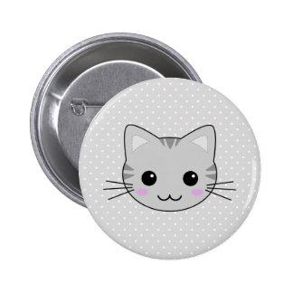 Dibujo animado gris lindo del gato de Tabby de Pin Redondo De 2 Pulgadas