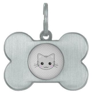 Dibujo animado gris lindo del gato de Tabby de Placa De Nombre De Mascota