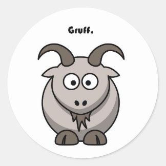 Dibujo animado gris rudo de la cabra etiquetas redondas
