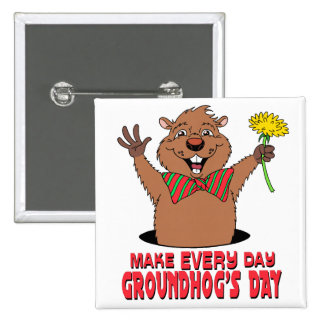 Dibujo animado Groundhog Pin Cuadrado