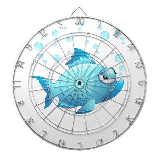 Dibujo animado gruñón de los pescados tabla dardos