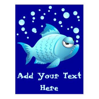 Dibujo animado gruñón de los pescados postal