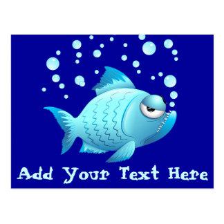Dibujo animado gruñón de los pescados tarjeta postal