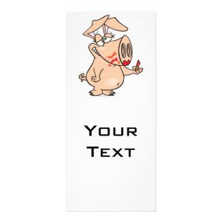 dibujo animado guarro del cerdo del lápiz labial d tarjetas publicitarias a todo color