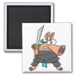 dibujo animado guarro del ninja del cerdo tonto di imanes de nevera