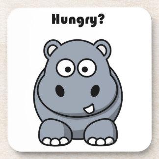 Dibujo animado hambriento del hipopótamo posavasos de bebida