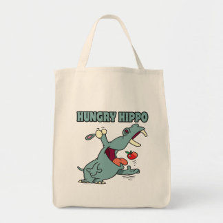 dibujo animado hambriento divertido del hipopótamo bolsas de mano