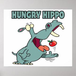 dibujo animado hambriento divertido del hipopótamo posters