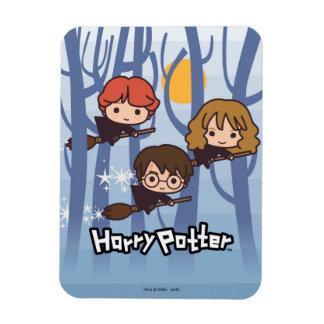 Dibujo animado Harry, Ron, y vuelo de Hermione en Iman Rectangular