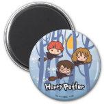 Dibujo animado Harry, Ron, y vuelo de Hermione en Imán Redondo 5 Cm
