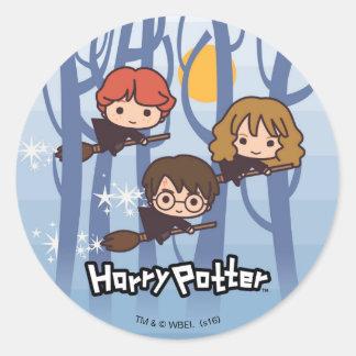 Dibujo animado Harry, Ron, y vuelo de Hermione en Pegatina Redonda