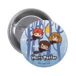 Dibujo animado Harry, Ron, y vuelo de Hermione en Pin Redondo De 2 Pulgadas