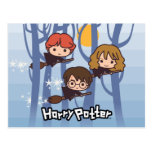 Dibujo animado Harry, Ron, y vuelo de Hermione en Tarjeta Postal