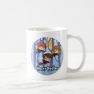 Dibujo animado Harry, Ron, y vuelo de Hermione en Taza De Café