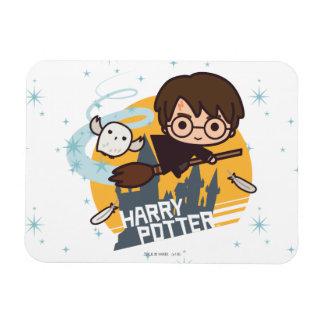 Dibujo animado Harry y vuelo de Hedwig más allá de Imanes Flexibles