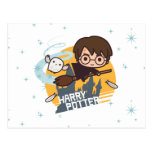 Dibujo animado Harry y vuelo de Hedwig más allá de Tarjeta Postal