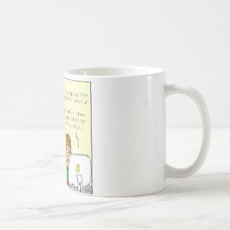 dibujo animado honesto del hoja informativa de la taza