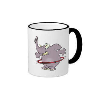 dibujo animado hooping del hula tonto del elefante tazas