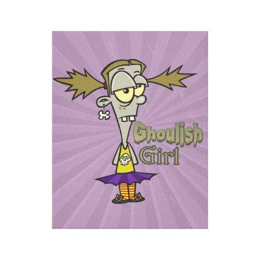 dibujo animado horrible del chica del zombi del ch impresiones en lona