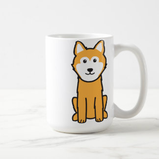 Dibujo animado islandés del perro del perro pastor taza de café
