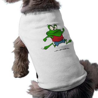 dibujo animado joggy de la rana del froggy que act playera sin mangas para perro