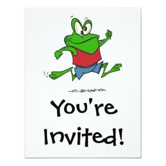 dibujo animado joggy de la rana del froggy que invitación 10,8 x 13,9 cm
