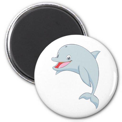 Dibujo animado juguetón lindo del delfín imán redondo 5 cm | Zazzle