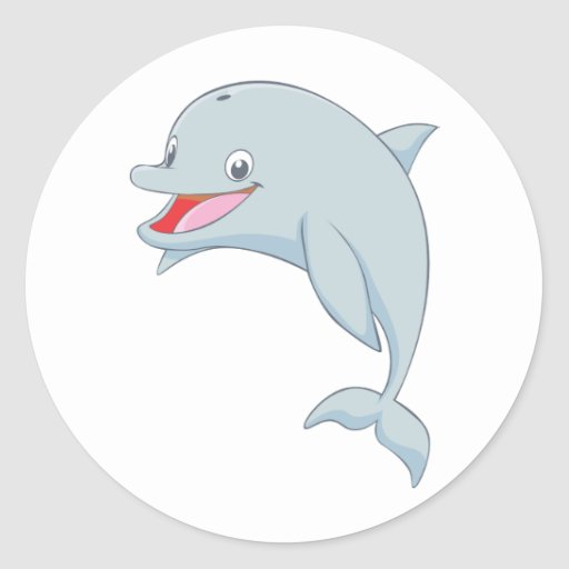 Dibujo animado juguetón lindo del delfín pegatina redonda | Zazzle