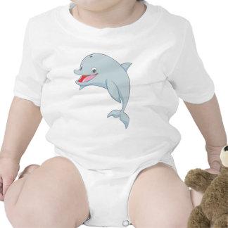 Dibujo animado juguetón lindo del delfín trajes de bebé
