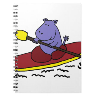 Dibujo animado Kayaking del hipopótamo divertido Cuadernos